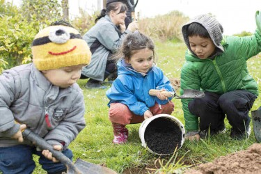 Children gardening.