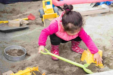 Child playing in a sandpit.