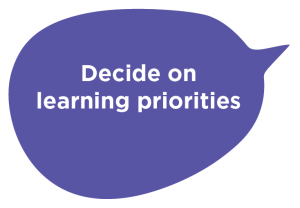 Decide on learning priorities speech bubble