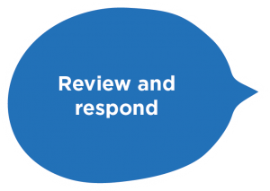 Review and respond speech bubble