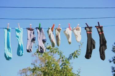 Socks on the washing line.