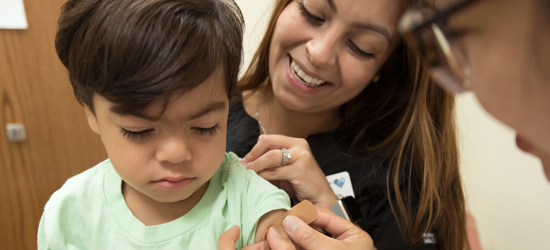 Child receiving medical care.