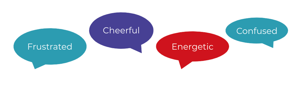 Speech bubbles of words for emotions: frustrated, cheerful, energetic and confused