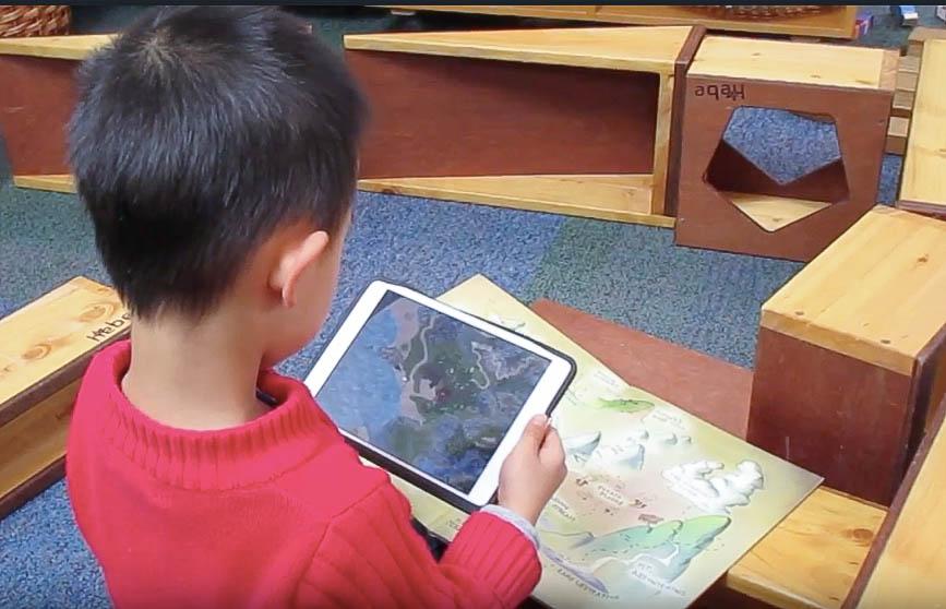 Child using a digital device.