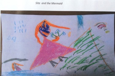 Drawing by child from a traditional story showing Sita and the mermaid.